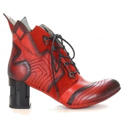 Maciejka Womens Calixta Red Leather Ankle Boot