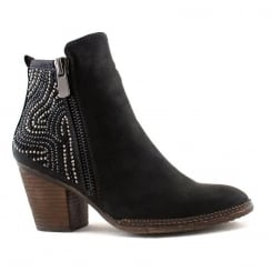 Escape Beaufort Black Diamante Heeled Ankle Boot