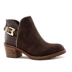 Escape Dakota Brown Decorative Snakeskin Ankle Boots
