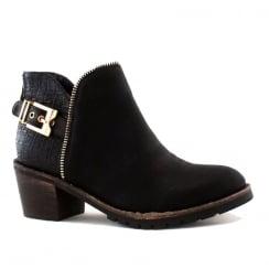 Escape Dakota Black Decorative Snakeskin Ankle Boots