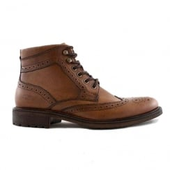 Lloyd & Pryce Mens O'Brien Brogue Camel Leather Ankle Boots