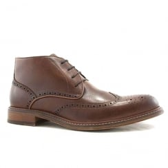 Bowe & Bootmakers Mens Jean Brogue Tan Leather Ankle Boots