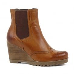 Carmela Tan Leather Wedge Chelsea Boot