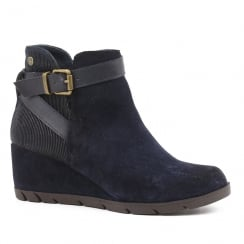 Carmela Navy Leather Wedge Ankle Boots