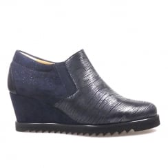 Perlato Navy Wedge Heeled Metallic Front Shoe