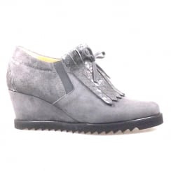 Perlato Light Grey Suede Wedge Heeled Sneaker Shoe