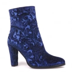 Perlato Blue Velvet Block Heeled Ankle Embroidered Boots