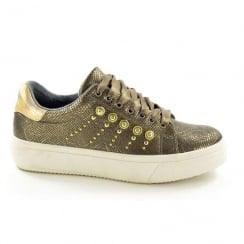 Fabulous Fabs Womens Bronze Ribbon Sneaker