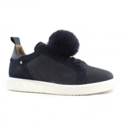 Amy Huberman Gunga Navy Sky Pom Pom Casual Lace Up Shoes