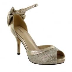 Menbur Delta Tobacco Glitter Bow Peep-Toe Heeled Sandal