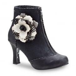 Joe Browns Christobel Black/White Flower Ankle Shoe Boot