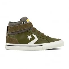 Converse Kids Pro Blaze Strap Stretch Hi Top Shoe - Olive