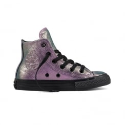 Converse Kids Iridescent Leather Ox Violet/Black Hi Top Shoe