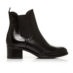 Moda in Pelle Colina Black Leather Chelsea Block Ankle Boot