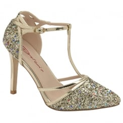 Dolcis Ladies Gold Glitter Nicola T-bar Court Shoe