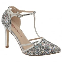 Dolcis Ladies Silver Glitter Nicola T-bar Court Shoe