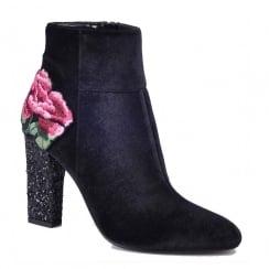 Glamour Black Velvet Flower Ankle Crystal Heel Boots