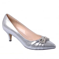 Glamour Silver/Pewter Metal Low Heel Point Court Shoe - ET711