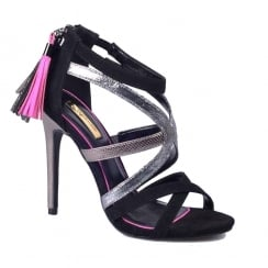 Womens Glamour High Heel Black & Pewter Tassle Sandals