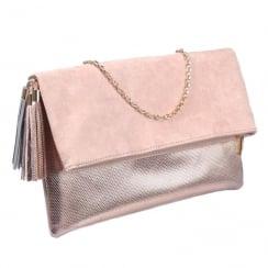 Glamour Nude Rose Gold Fold Bag - ET718B