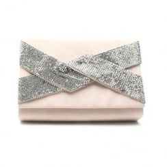 Glamour Nude Pewter Glitter Diamante Clutch Bag - ET703B