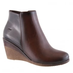 Susst Blake Brown Combi Wedge Heeled Ankle Boots