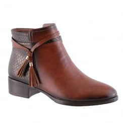 Susst Brie Flat Block Brown Tassle Ankle Boots