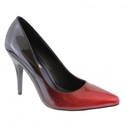 Susst Goldie Black Red Shimmer Glitter Pointed Court Shoe
