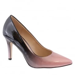 Susst Ashley Black Pink 2 Tone Patent Pointed Court Shoe