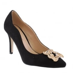 Barino Black Suede Brooch Trim Pointed Court Shoe