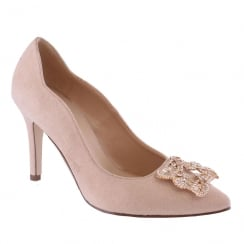 Barino Champagne Suede Brooch Trim Pointed Court Shoe