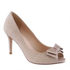 Barino Gold Glitter Bow Peep Toe Occasion Court Shoe
