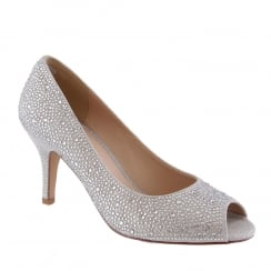 Barino Silver Crystals Stones Open Toe Occasion Court Shoe