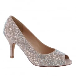 Barino Champagne Crystals Stones Open Toe Occasion Court Shoe