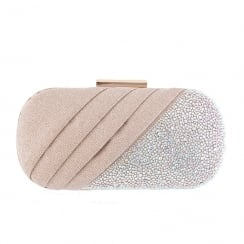 Barino Womens Champagne Diamante Clutch Bag