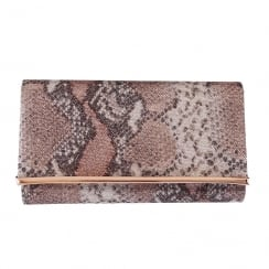 Barino Womens Rose Gold Reptile Clutch Bag