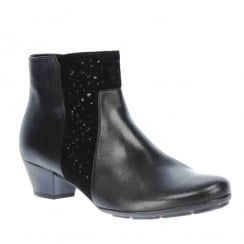 Gabor Black Diamante Low Heel Leather Ankle Boots