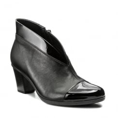 Gabor Black Leather Patent V Front Upper Ankle Boot