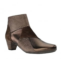 Gabor Brown Leather Combi Low Heel Ankle Boots