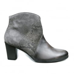 Gabor Grey Leather Snake Print Low Heel Ankle Boots