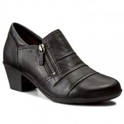 Gabor Black Leather Low Heeled Shoe