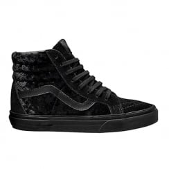 Vans Womens Black Velvet SK8-Hi Reissue Zip Sneakers
