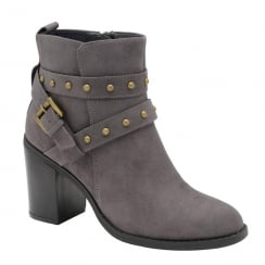 Dolcis Piper Grey Suede Gold Studded Ankle Heeled Boots