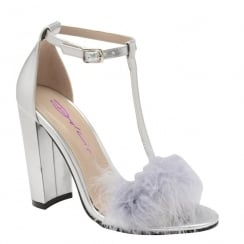 Dolcis Lacey Silver Fur T-Bar Heeled Sandals