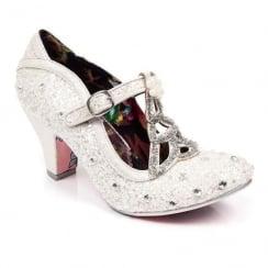Irregular Choice - Icely Festive - White Glitter Xmas Mid Heels