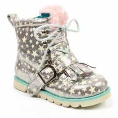 Irregular Choice Baby Step Mama - Silver Kids Boots