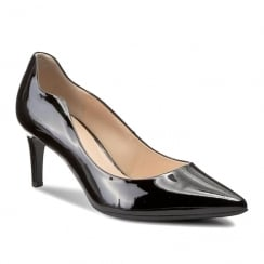 Hogl Womens Black Patent Leather Low Pointed Court Shoe