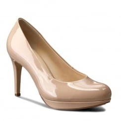Hogl Womens Nude Patent Leather High Heel Platform Court