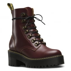 Dr.Martens Womens Burgundy Leona Vintage Chunky Heel Laced Boots