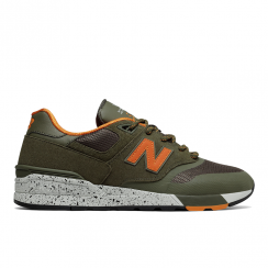 New Balance Men's 597 Green Orange Sneakers
